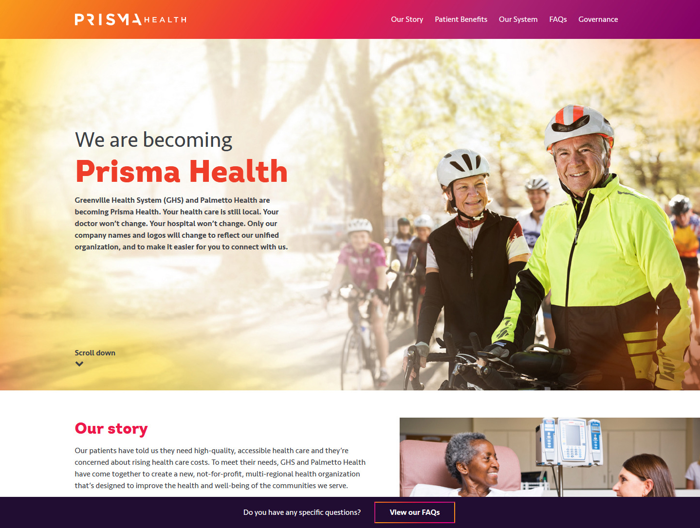 We are becoming Prisma Health desktop view